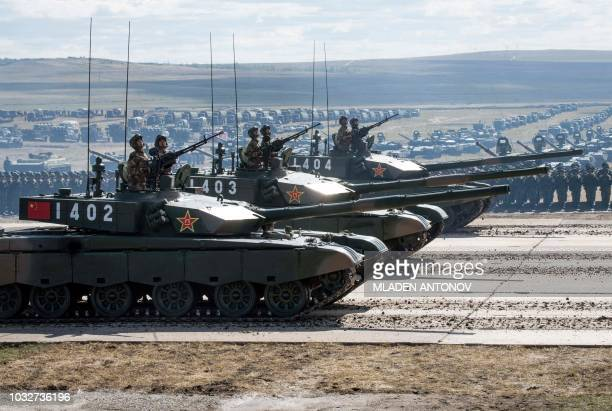 Chinese tanks parade at the end of the day of the Vostok2018 military drills at Tsugol training ground not far from the borders with China and...