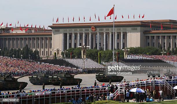 Chinese tanks parade in Tiananmen Square during a military parade to mark the 70th anniversary of the end of World War Two on September 3, 2015 in...