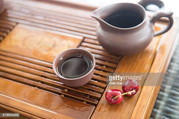 chinese tea and cherry