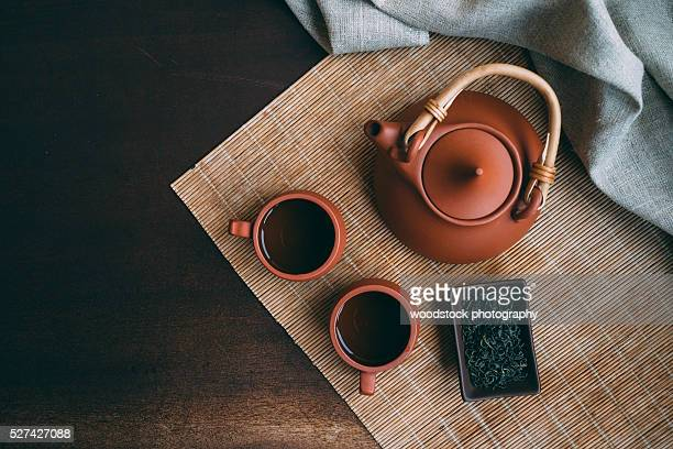 chinese tea ceremony. - tea leaves stock photos and pictures