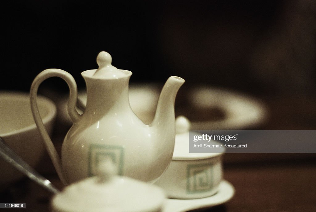Chinese tea pot along with pots for sauces : Stock Photo