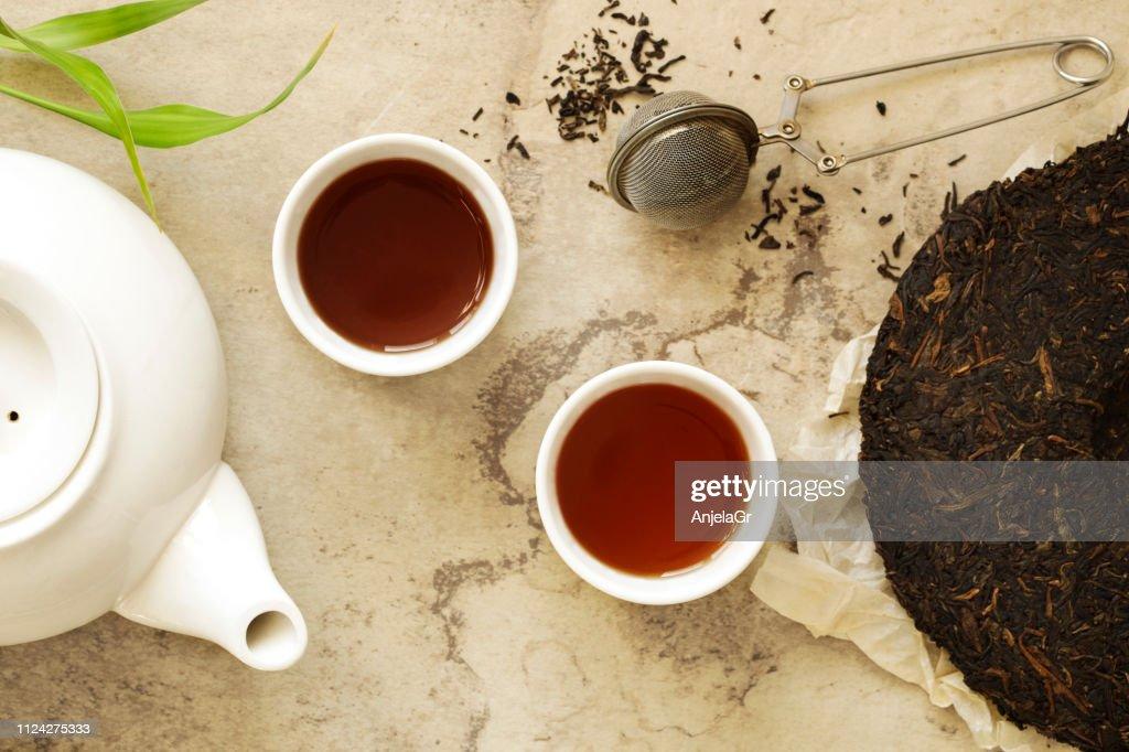 Chinese tea. Pu erh Puerh Tea Cake. : Stock Photo
