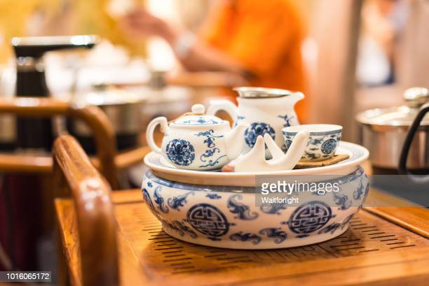 chinese tea set - porcelain stock pictures, royalty-free photos & images