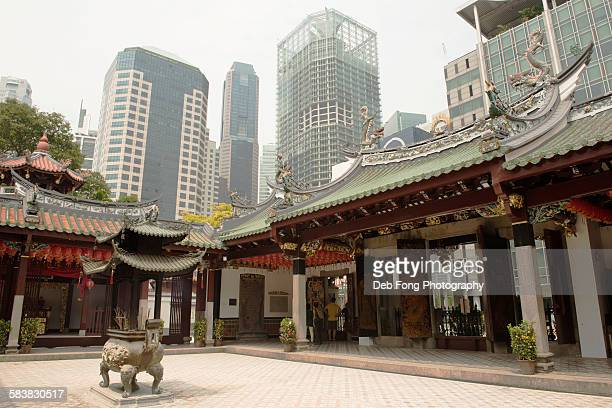 Chinese temple with skyline in Singapore
