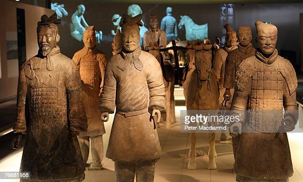 Chinese Terracotta figures are displayed inside the Reading Room at The British Museum on September 12 2007 in London The 'First Emperor' exhibition...
