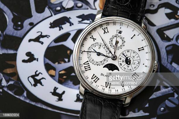Chinese themed limited edition model of a watch by Swiss watchmaker Blancpain which shows the Chinese time and calendar as well as the signs of the...