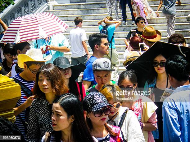 Chinese Tourist Group Summer Crowd
