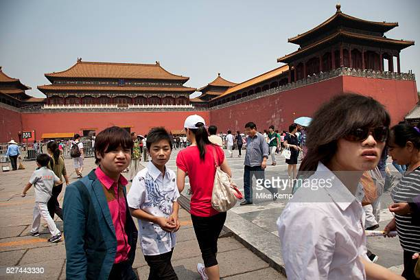 Chinese tourists inside The Forbidden City a Chinese imperial palace from the Ming Dynasty to the end of the Qing Dynasty It is located in the middle...