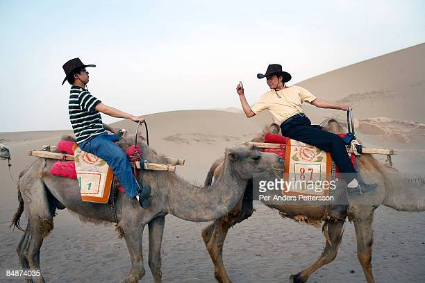 Chinese tourists ride camels in the Gobi desert.