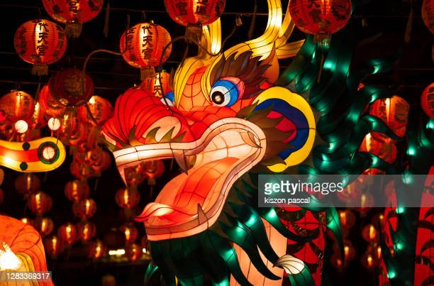 chinese traditional dragon lantern illuminated at night . - chinese new year stock pictures, royalty-free photos & images