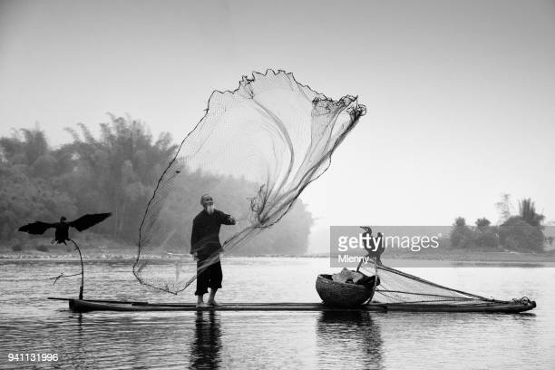 Chinese traditional fisherman Li River China BW