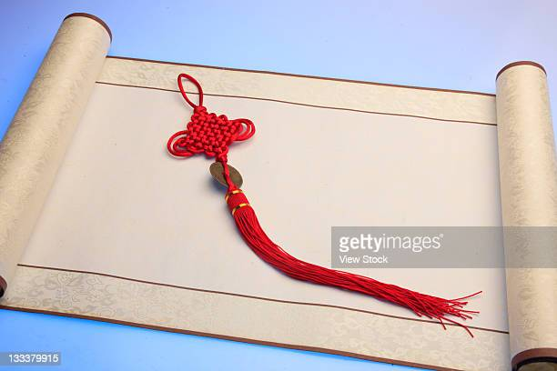 chinese traditional scroll,still life - chinese knotting stock pictures, royalty-free photos & images