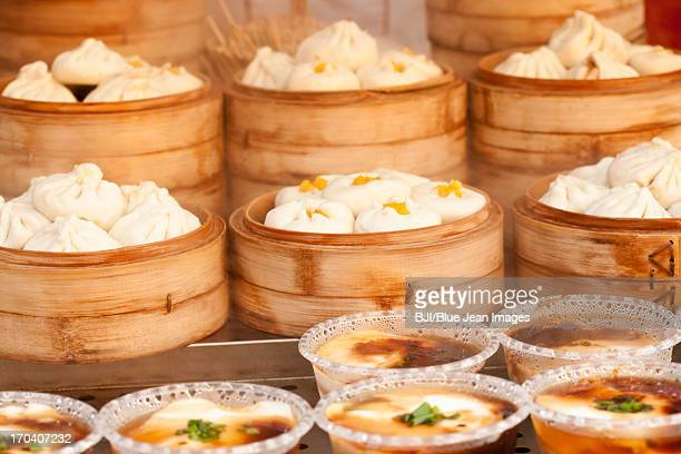 Chinese traditional snack steamed bun and jellied bean curd