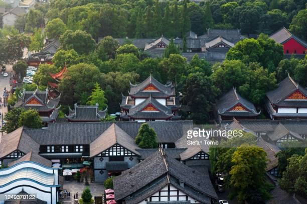 chinese traditional style architecture of wenshufang folk and culture street in chengdu capital of southwestern china's sichuan province - chengdu stock pictures, royalty-free photos & images