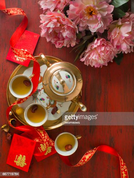 chinese traditional wedding tea ceremony table top shot. - wedding ceremony stock pictures, royalty-free photos & images