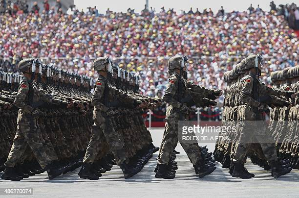 Chinese troops march during a military parade in Tiananmen Square in Beijing on September 3 to mark the 70th anniversary of victory over Japan and...