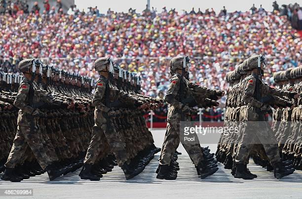 Chinese troops march during a military parade marking the 70th Anniversary of the 'Victory of Chinese People's Resistance against Japanese Aggression...