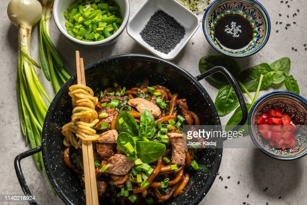 chinese udon noodles - asian food stock pictures, royalty-free photos & images