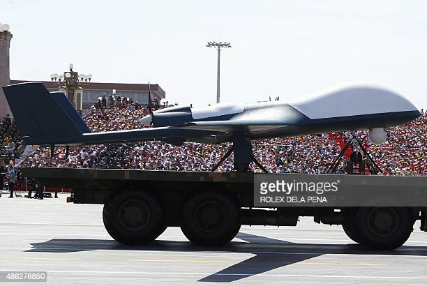A Chinese unmanned aerial vehicle is presented during a military parade in Tiananmen Square in Beijing on September 3 to mark the 70th anniversary of...