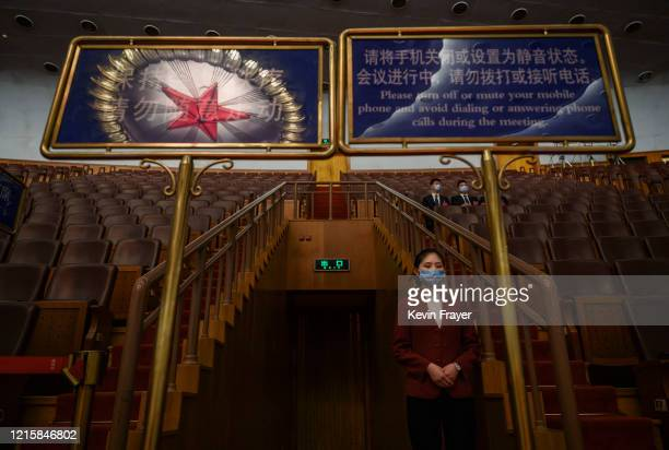 Chinese usher wears a protective mask at the closing session of the National People's Congress at the Great Hall of the People on May 28 2020 in...