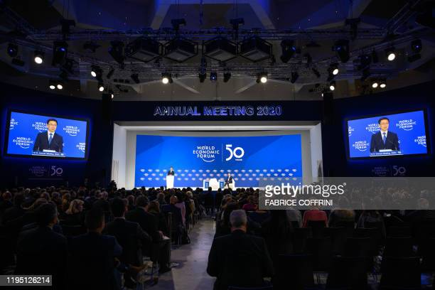 Chinese Vice Premier Han Zheng delivers a speech at the Congress centre during the World Economic Forum annual meeting in Davos on January 21 2020