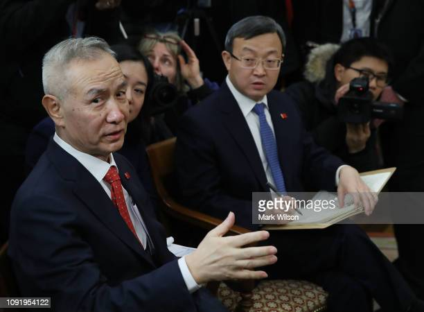 Chinese Vice Premier Liu He speaks during a meeting with US President Donald Trump in the Oval Office at the White House on January 31 2019 in...