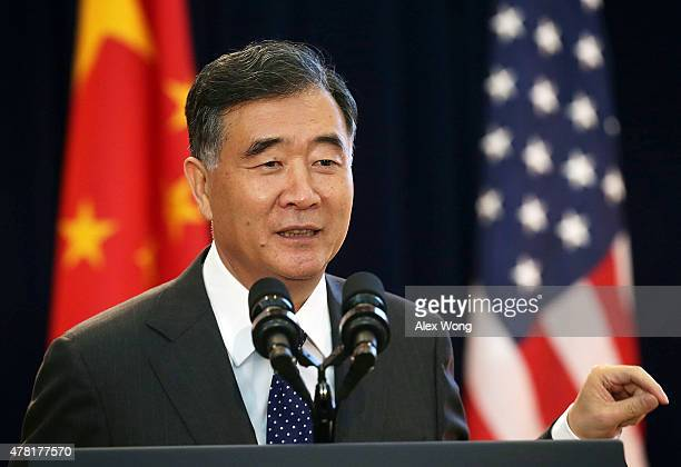 Chinese Vice Premier Wang Yang delivers remarks during the joint opening session of the Strategic and Economic Dialogue and Consultation on...