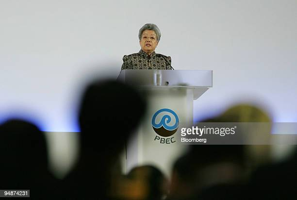 Chinese Vice Premier Wu Yi addresses delegates Monday June 13 2005 at the 38th International General Meeting of the Pacific Basin Economic Council in...