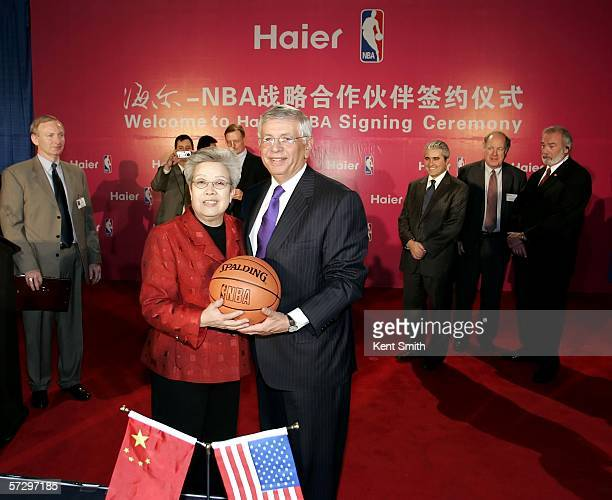 Chinese vice premier Wu Yi and NBA Commissioner David Stern make a joint announcement on the global strategic alliance between Haier and the NBA on...