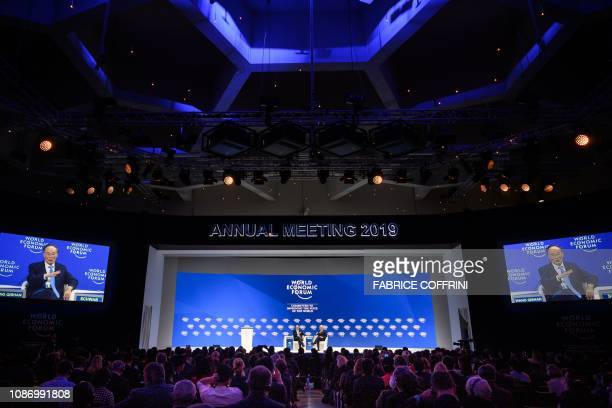 Chinese Vice President Wang Qishan attends a special address during the World Economic Forum annual meeting on January 23 2019 in Davos eastern...