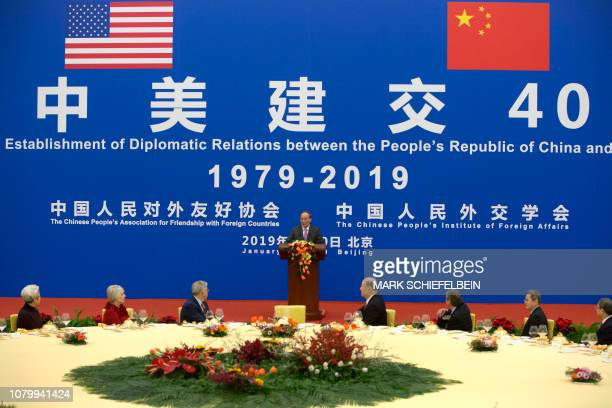 Chinese Vice President Wang Qishan speaks during an event commemorating the 40th anniversary of the establishment of diplomatic relations between the...
