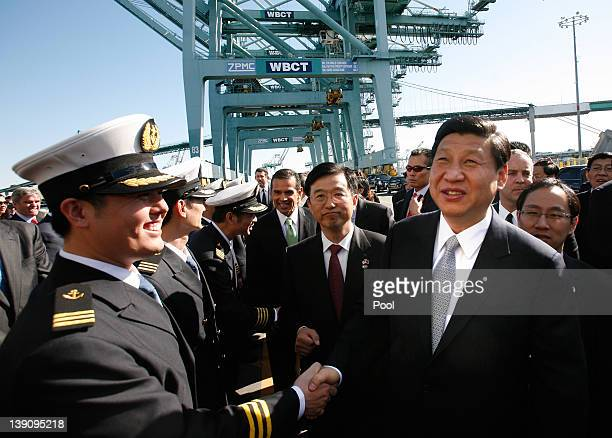 Chinese Vice President Xi Jinping shakes hands with officers as he tours China Shipping on February 16 2012 at the Port of Los Angeles in San Pedro...