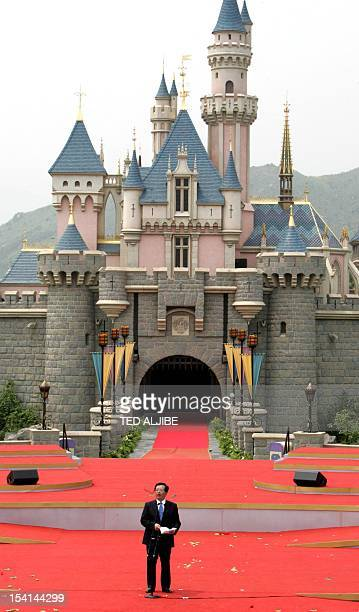 Chinese Vice president Zeng Qinghong addresses the opening ceremony of Hong Kong Disneyland theme park in front of the Sleeping Beauty castle 12...