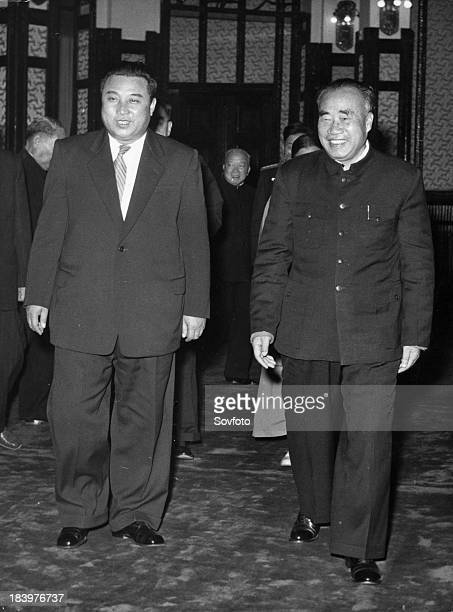 Chinese ViceChairman Chu Teh receiving the Korean Government delegation headed by Premier Kim Il Sung on November 22 1958