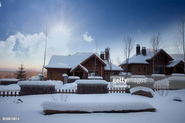 Chinese village covered by snow in winter,North China