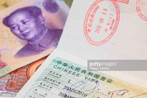 chinese visa - passport stamp stock photos and pictures