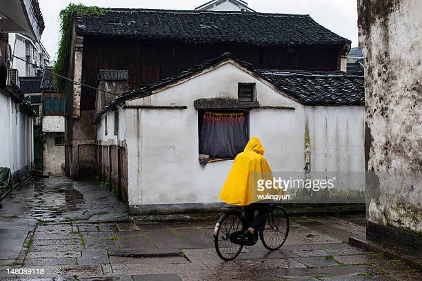 Chinese Water town in rainy