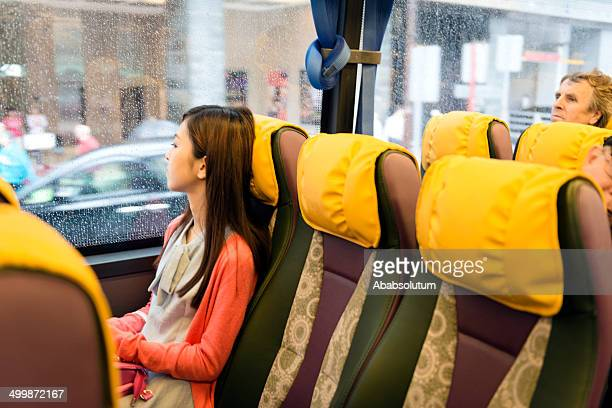 Chinese Woman and Caucasian on Bus, Hong Kong, Asia