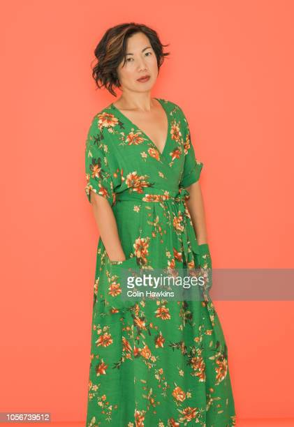Chinese woman in retro green dress