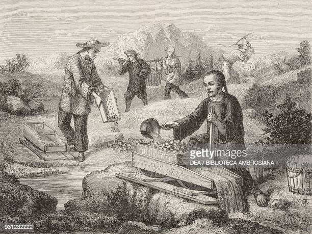 Chinese woman washing auriferous sands San Francisco United States of America drawing by Chassevent after a Californian engraving from Travels in...