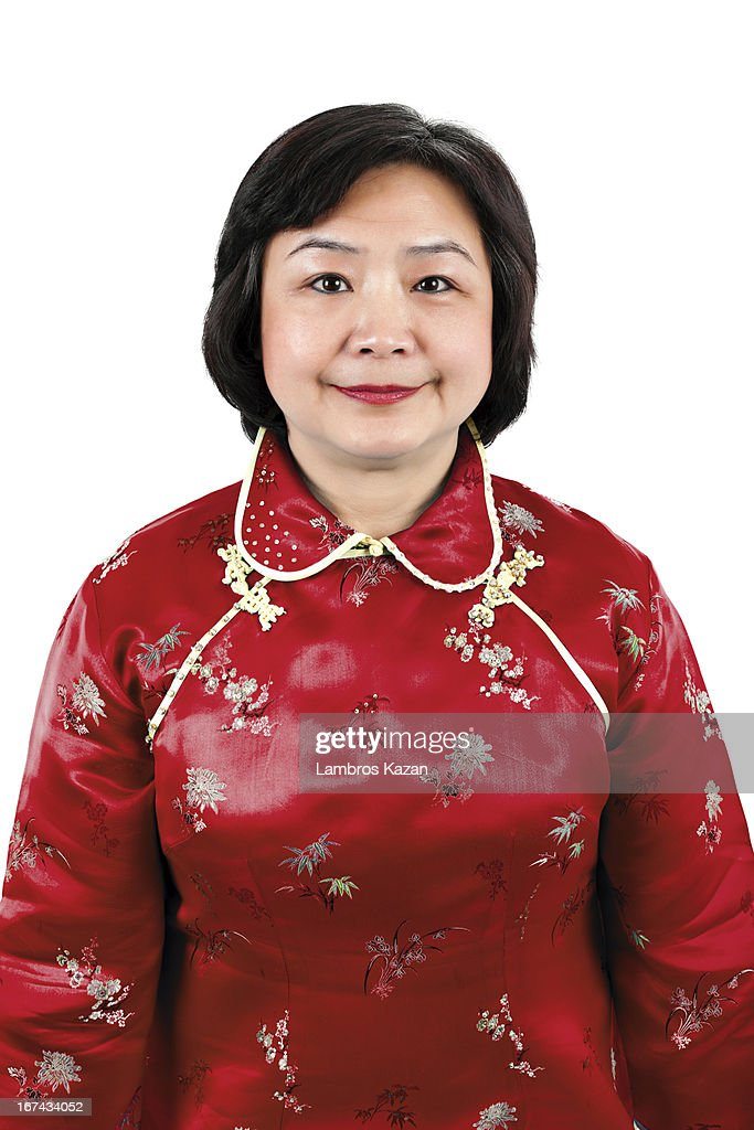 Chinese Woman wearing red traditional suit : Stock Photo