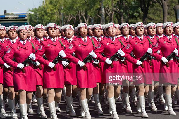 chinese women militia soldiers marching of the military parade - parade stock pictures, royalty-free photos & images