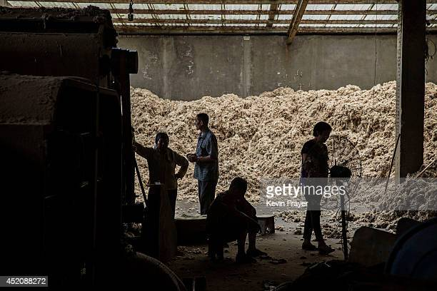 Chinese worker gather next to machinery for processing and bleaching sheep's wool imported from Australia at a factory on July 12 2014 near Zhangzhou...