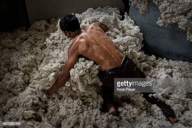 Chinese worker gathers up sheep's wool imported from Australia after it was processed and bleached at a factory on July 12 2014 near Zhangzhou China...