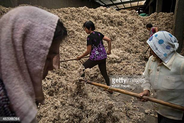 Chinese worker rake sheep's wool imported from Australia before it is processed and bleached at a factory on July 12 2014 near Zhangzhou China The...