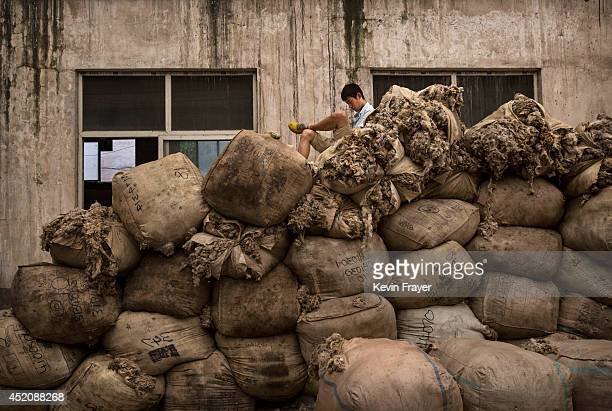Chinese worker sits on top of large bags of sheep's wool before it is processed and bleached at a factory on July 12 2014 near Zhangzhou China The...