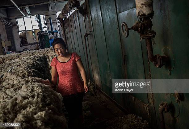 Chinese worker stands next to machinery used to clean and bleach sheep's wool imported from Australia at a factory on July 12 2014 near Zhangzhou...