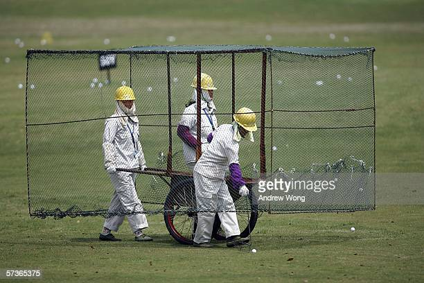Chinese workers collect golf balls at a driving range prior to the BMW Asian Open at the Tomson Golf Club on April 19 2006 in Shanghai China