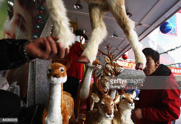 Chinese workers from a Christmas decorations store display their products at a market on December 19 2008 in Beijing China A large number of...