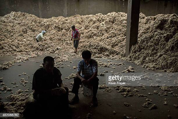 Chinese workers rake sheep's wool imported from Australia that will later be processed and bleached at a factory on July 12 2014 near Zhangzhou China...